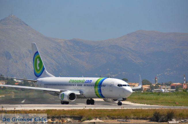Vliegtuig van Transavia op Corfu